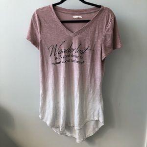 Wanderlust def. pink short sleeve tunic t-shirt